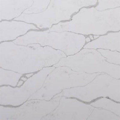 Quartz Master Calacutta Borghini countertop with marble accent backsplash