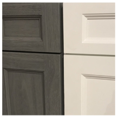 midtown gray and uptown white shaker cabinets